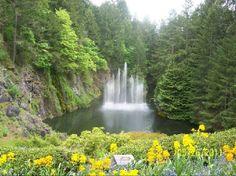 Waterfall or Fountains. Victoria British Columbia Butchart Gardens