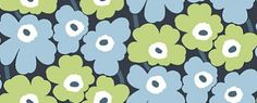 Pieni Unikko Pastel Blue (17902) - Marimekko Wallpapers - The classic Marimekko fabric design, created in a smaller scale wallpaper repeat – simply stunning.  Shown here in the pastel blue and green on dark blue  colourway. Paste the wall. Please request sample for true colour match.