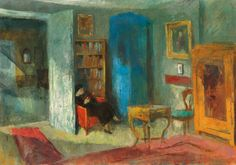 Interior By István Szönyi Woman Reading, Kids Reading, Library Art, Kiesel, Female Images, Polar Bear, Painting & Drawing, Techno, Fine Art