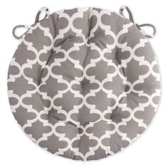 Fulton Grey Bistro Chair Pad 16 Round Cushion with Ties Indoor / Outdoor Indoor Chair Cushions, Round Chair Cushions, Quatrefoil Pattern, Free Fabric Swatches, Bistro Chairs, Fabric Suppliers, Home Decor Online, Chair Pads, Fulton
