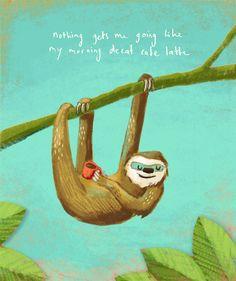 Sloth drinking coffee