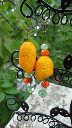 Earrings Silk worm cocoon....