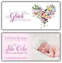 Ida: Geburtskarte 210x100 mm // Karte auch in «Jungen-Farben» erhältlich // (©Foto: http://www.corinnechollet.ch)
