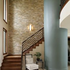 Stacked Stone Interior Wall Design, Pictures, Remodel, Decor and Ideas - page 2 - My-House-My-Home Stone Interior, Interior Stairs, Interior Design, Gray Interior, Modern Staircase, Staircase Design, Staircase Walls, Stairwell Wall, Basement Stairs