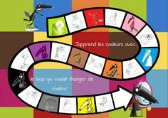 Jeu sur les couleurs loup qui voulait changer de couleur French Lessons, English Lessons, French Worksheets, French Immersion, Brain Teasers, Games For Kids, Montessori, Board Games, Back To School
