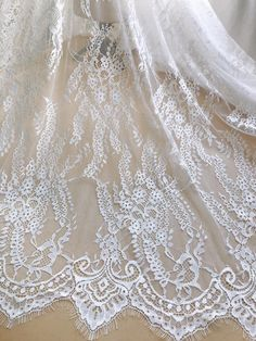 544beeaa8d72 Elegant Chantilly Lace Off-white French Lace Fabric Soft Baptism Gown  Bridal Dress Fabric By the yard