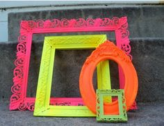 Spray paint neon frames - can use to take pictures with night of party.