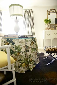 pleated table skirt with welting via The Green Room Interiors Chattanooga, TN