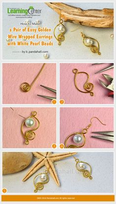 How to Make a Pair of Easy Golden Wire Wrapped Earrings with White Pearl Beads from LC.Pandahall.com