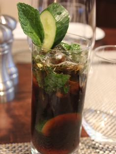 Hendricks Gin 3 pieces of Mint 3 cucumber slices Diet Coke Muddle mint and cucumber slices in a cocktail shaker. Add gin and coke. Shake vigorously and strain into a glass. Source: The Sea Fire Grill Cocktail And Mocktail, Cocktail Recipes, Cocktails, Cocktail Shaker, Alcoholic Drinks, Beverages, Gin And Coke, Drinking Vinegar, Gin Recipes