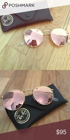 Ray Ban Round Flash Mirrored Sunglasses Artista gold copper colored sunglasses by Ray Ban. They reflect like a mirror and are a very pretty copper/ rose gold color. 100% UV protection, wire rimmed round sunglasses. There are nose pads as well. Ray-Ban Accessories Sunglasses