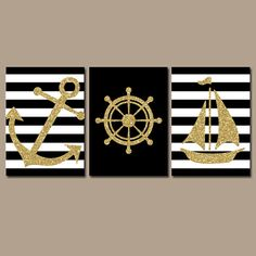 GLITTER Nautical Wall Art Nursery Bathroom Wall Art Black Gold Glitter Wall Art Dorm Room Ocean Anchor Boat Wheel Set of 3 Canvas or Prints