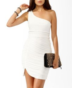 Ruched One-Shoulder Dress | FOREVER 21 - 2000049029  One size left agh hopefully it fits