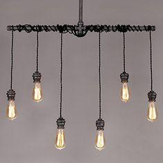 Jiuzhuo Industrial Brushed Black Metal 6 Hanging Bulb Light Vintage Pendant Ceiling Light: Amazon.co.uk: Lighting