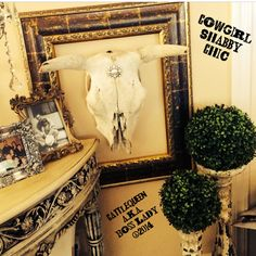 Frame a Blinged out Steer Head for a Cowgirl Shabby Chic Style....