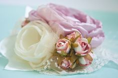 Ivory and Pink Double Flower Hair Piece  Custom от BelleBlooms