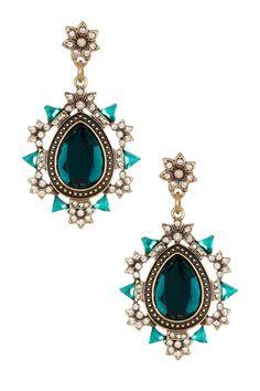 Ornate Floral Crystal & Resin Teardrop Earrings by Sparkling Sage on @HauteLook