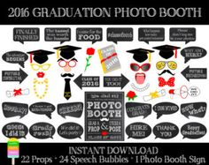 Graduation Photo Booth Printable Props 2016 by SurpriseINC