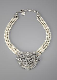 art deco pearl + rhinestone medallion necklace
