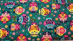 Stoff ♥ bunte Eulen♥ Floro-Eulenstoff -Baumwolle- schick & bunt    Wunderschöner Stoff für deine/Ihre kreative Zeit.....    Die großen Eulen sind c...