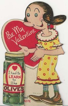 Unique vintage Valentine with Olive