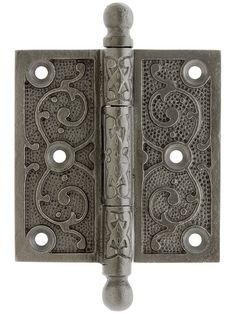 "3 1/2"" Lacquered Iron Ball Tip Hinge With Decorative Vine Pattern"