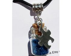 Autism Awareness Puzzle Piece charm by LuckyKarmaCreations on Etsy, $17.00