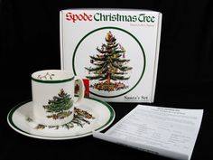 SPODE CHRISTMAS TREE Royal China Santa's Set 1 Desert Plate & 1 Mug NEW England #Spode #HolidayChristmas