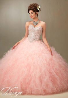 Mori Lee Vizcaya Quinceanera Dress Style 89077 is made for Quinceanera girls who want to look like a beautiful Princess on her Sweet 15. Made out of tulle, this ball gown features a strapless sweethea