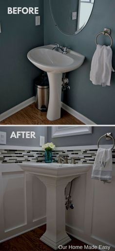 easy room makeover Budget Powder Room Reveal [ORC Week - Our Home Made Easy Bathroom Makeover, Room Makeover, Home Remodeling, Bathroom Decor, Powder Room Remodel, Small Half Bathrooms, Bathroom Design, Small Remodel, Small Bathroom Remodel