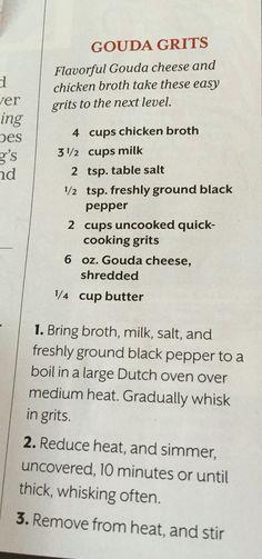 Gouda grits by MarylinJ Louisiana Recipes, Cajun Recipes, Southern Recipes, Shrimp Recipes, Cooking Recipes, Southern Food, Haitian Recipes, Donut Recipes, Yummy Recipes