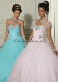 2014 New Arrival White Blue Sweetheart Beaded Ball Gown Short Sleeve With Sheer Jacket Backless Lace Up Long Quinceanera Dresses $176.54