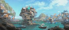 Stereotypical coastal town found in greece around malta and in the coastal areas of both the north an Fantasy landscape Fantasy city Environment concept art