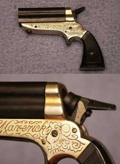 The German made Derringer Maverick. It has four stationary barrels and that funny looking hammer rotates to fire each one. You can find some more detailed pics of it at this link: http://www.littlegun.be/ma_collection/derringer/a%20derringer%20maverick%204mm%20gb.htm