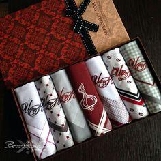 Купить Набор Носовые платки мужские с вышивкой Монограмма - вышивка, вышивка на заказ, вышивка на одежде