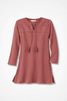 This tunic is simple yet rich in detail, with its textured ribbed knit, tonally embroidered front yoke and tasseled-tie accents at the split V-neck. Straight hem with side slits. #womenTUnic #plussizeTUnic #PetiteTunic #fashion #womenFashion