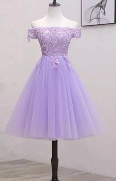 Light Purple Lace And Tulle Off The Shoulder Homecoming Dress, Short Party Dress. - - Light Purple Lace And Tulle Off The Shoulder Homecoming Dress, Short Party Dress Source by Cute Prom Dresses, Sweet 16 Dresses, Grad Dresses Short, Pretty Dresses, 8th Grade Prom Dresses, Bridesmaid Dresses, Prom Gowns, Pageant Dresses, Purple Quinceanera Dresses