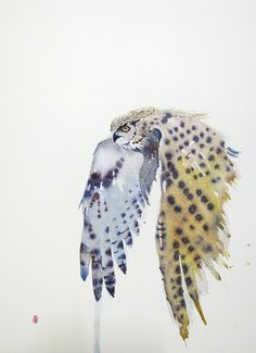 A watercolor of the Eagle owl on his way Watercolor Owl Tattoos, Watercolor Abstract Tattoo, Fly Drawing, Wolf Tattoo Design, Wildlife Art, Owl Watercolor, Bird Artwork, Owl Art, Watercolor Bird