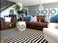 blue brown and ivory living room