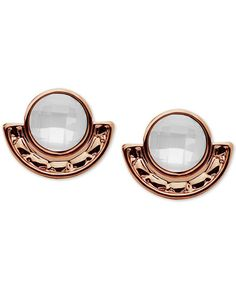 lonna & lilly Rose Gold-Tone Imitation Pearl Stone Stud Earrings
