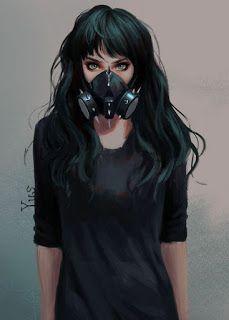 Green Eyes Toxic Anime Girl on Inspirationde Anime Art Green Eyes Toxic Anime Girl on Inspirationde Cyberpunk Girl, Arte Cyberpunk, Cyberpunk Fashion, Cyberpunk Tattoo, Gothic Fashion, Gas Mask Art, Masks Art, Gas Mask Drawing, Girl Cartoon