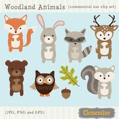 Woodland Animals clip art images,  fox clip art, fox vector, royalty free clip art- Instant Download by ClementineDigitals on Etsy https://www.etsy.com/listing/169731348/woodland-animals-clip-art-images-fox