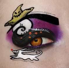 Amazing Nightmare Before Christmas look! How can you learn tricks if you're just starting to make up? Eye Makeup Glitter, Eye Makeup Art, Eye Art, Beauty Makeup, Halloween Eye Makeup, Halloween Eyes, Happy Halloween, Halloween Party, Make Up Geek