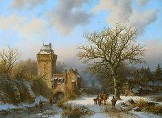 Barend Cornelis Koekkoek - Winterlandschap met mensen op een besneeuwd pad 1856