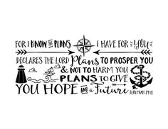 For I know the plans I have for you, lighthouse, anchor, Nursery, arrows, nautical, Vinyl wall decal Nursery Jeremiah 29:11 JER29V11-0005 by WildEyesSigns on Etsy