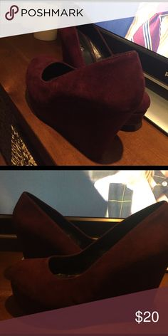 Burgundy Wedges Never before worn wedges! Shoes Wedges