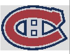 Counted Cross Stitch Pattern Montréal Canadiens Logo by dueamici Counted Cross Stitch Patterns, Cross Stitch Designs, Cross Stitch Embroidery, Knitting Charts, Baby Knitting Patterns, Crochet Patterns, Corner To Corner Crochet, Knitting For Charity, Feather Pattern