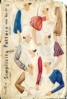 Simplicity 1794 8 Fancy Sleeves 1940s Sewing Pattern B34 by box241