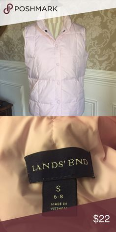 Lands' End down filled vest Beautiful pale pink Lands' End down filled vest...size S...6-8...in excellent condition and freshly laundered from a smoke free home! Lands' End Jackets & Coats Vests