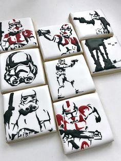 Star Sugar Cookies, Star Wars Cookies, Star Wars Cake, Star Wars Gifts, Star Wars Party, Star Wars Birthday Cake, Birthday Cookies, Star Wars Film, Star Trek
